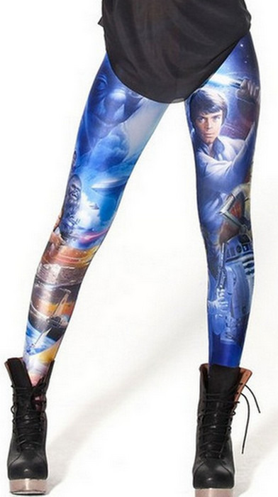 Blåa star war film galaxy leggings