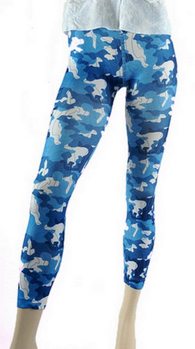 Blåa kamouflage legging