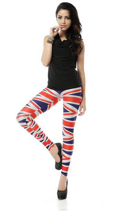 Röda blåa vita flagga design printed leggings