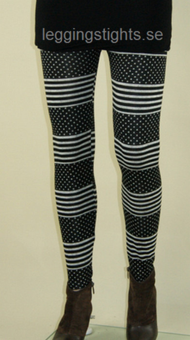 Svarta vita punkt stripe leggings
