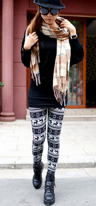 Svarta älg winter thick leggings