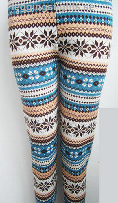 Blåa vita bruna Kombination Färg Winter Leggings