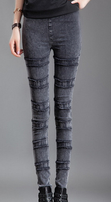 Svarta faux jeans jeggings vinter tät leggings