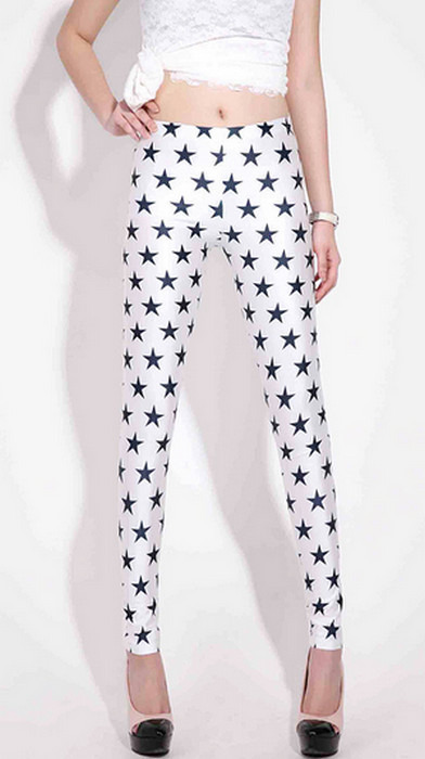 Svarta vita Stars Galaxy Leggings