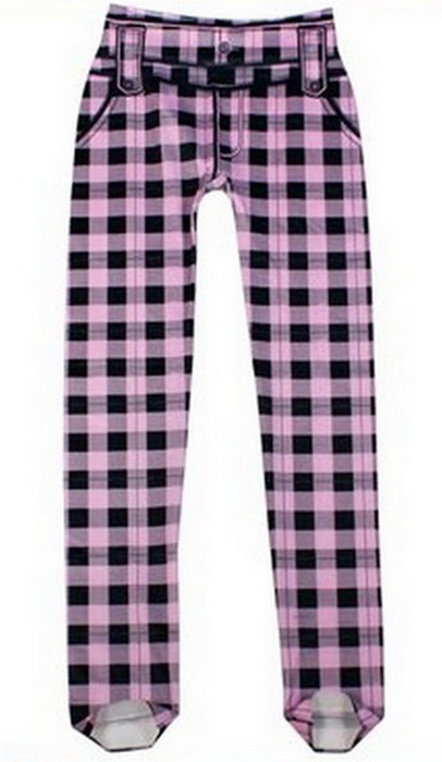 Svarta lila fashion plaid retro leggings