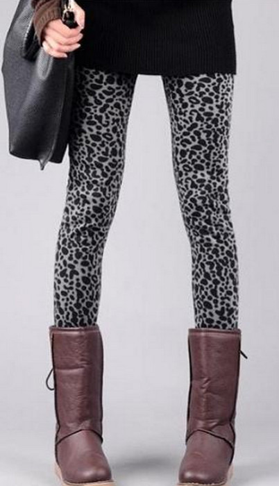 Svarta leopard vinter tät leggings