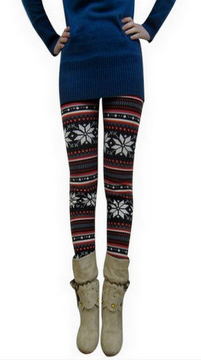 Blom vinröda vinter tät leggings