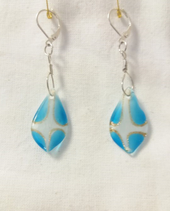 Lampwork glas ljus blåa water örhänge