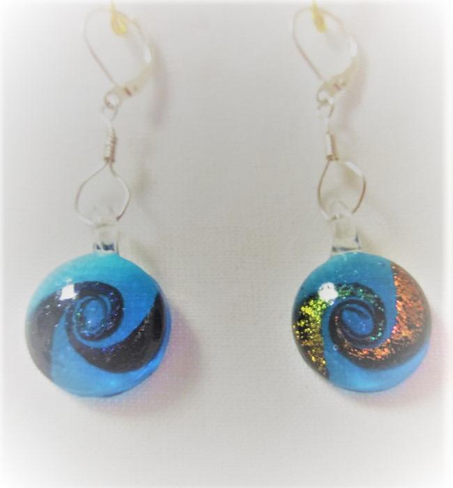 Lampwork glas livets cirkel blåa örhängen