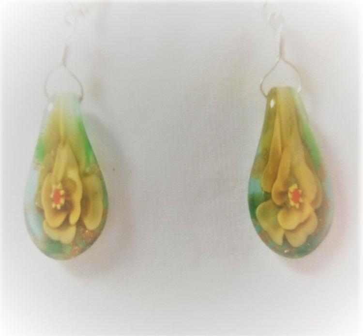 Lampwork glas silver gula lotus örhänge