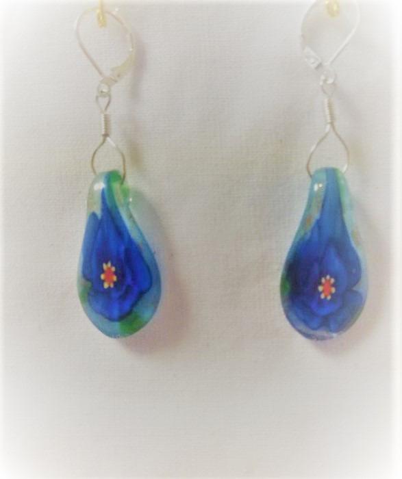 Lampwork glas silver blåa lotus örhänge