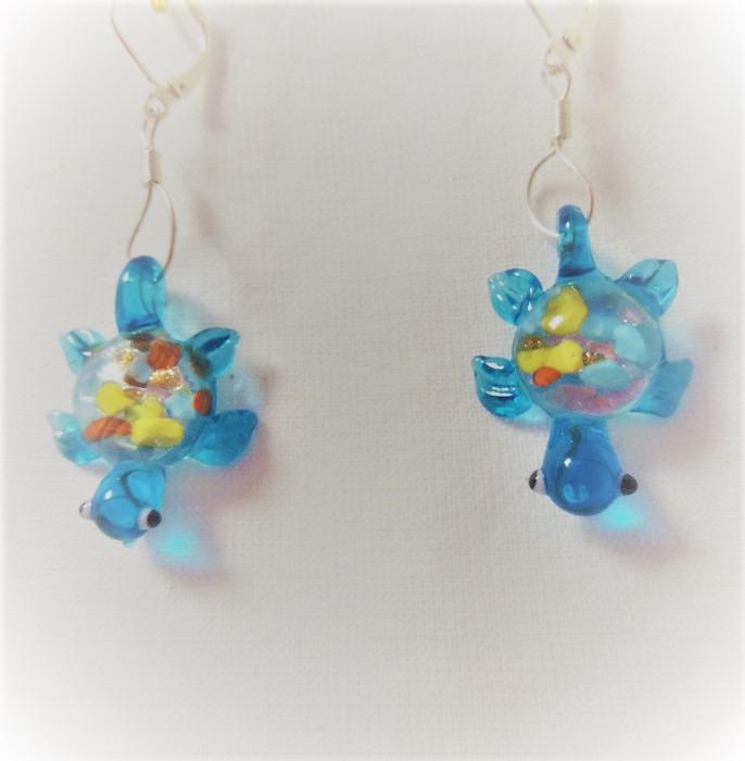Lampwork glas silver blåa sköldpadda örhänge