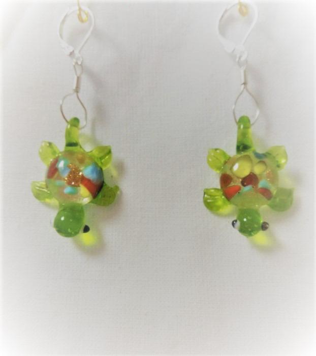 Lampwork glas silver gröna sköldpadda örhänge