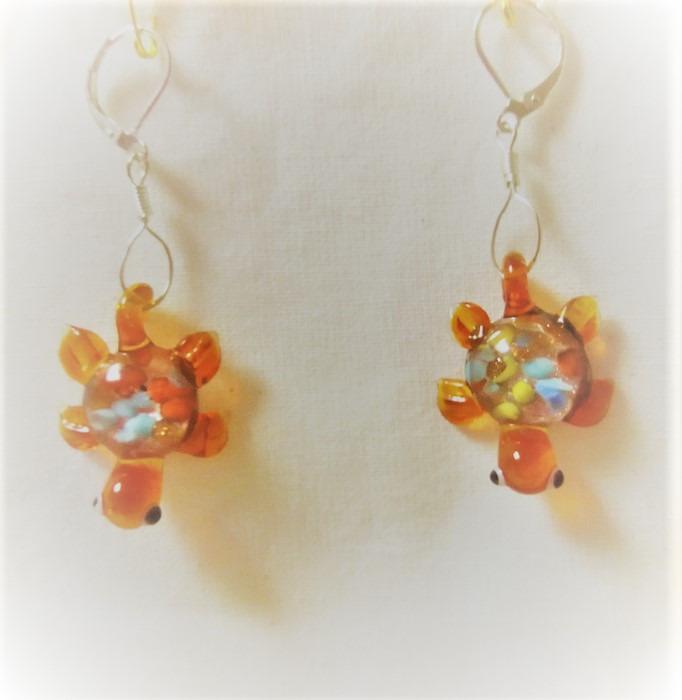 Lampwork glas silver orange sköldpadda örhänge