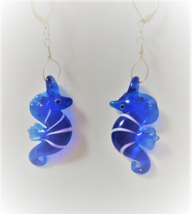 Lampwork glas silver blåa sjöhäst örhänge