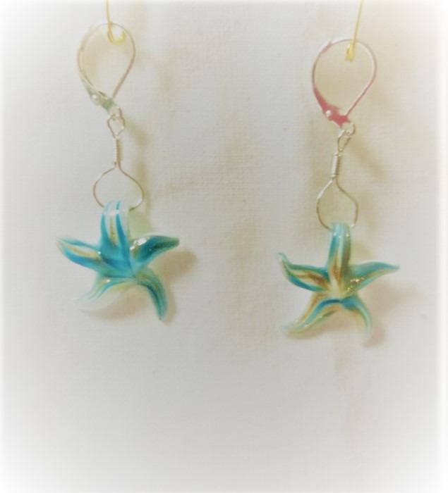 Lampwork glas Silver ljus blåa sjöstjärna örhänge