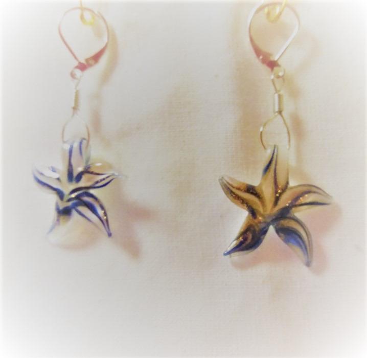 Lampwork glas silver blåa sjöstjärna örhänge