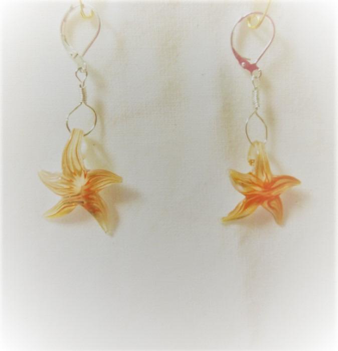 Lampwork glas silver örhänge sjöstjärna örhänge