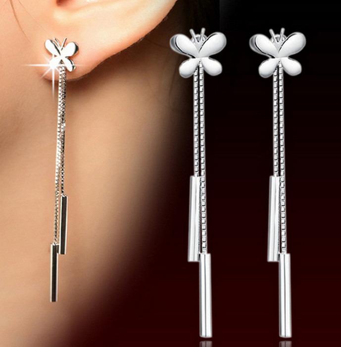 Fjäril lång drop silver örhänge