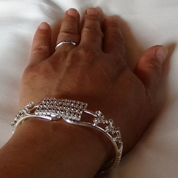 Lila zirconia stenar quadrangular armband