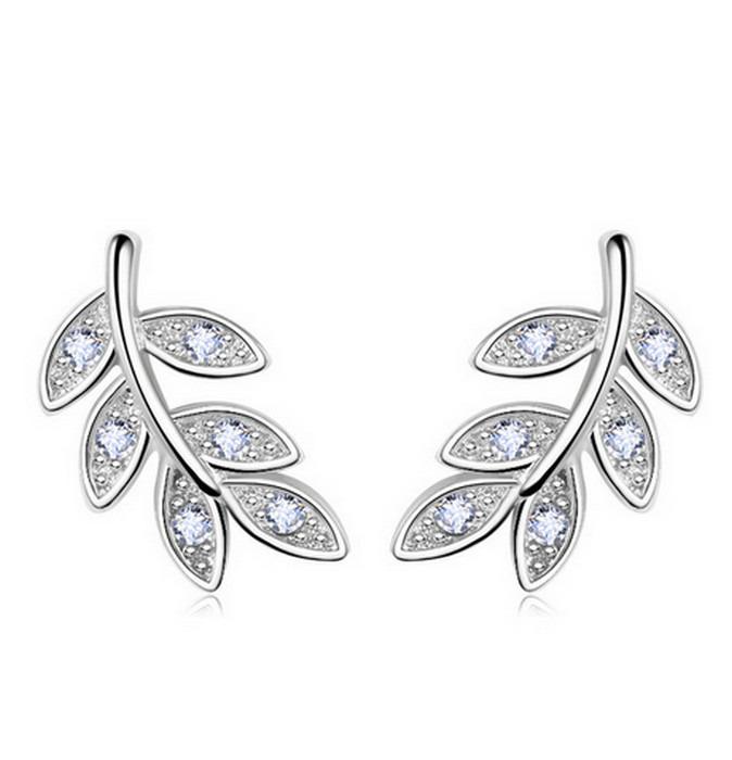Oliv Blad Silver Örhänge