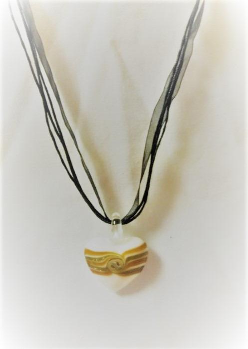 Lampwork Glas Gulden Hjärtat Halsband
