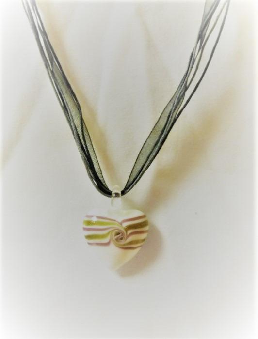Lampwork Glas Lila Hjärtat Halsband