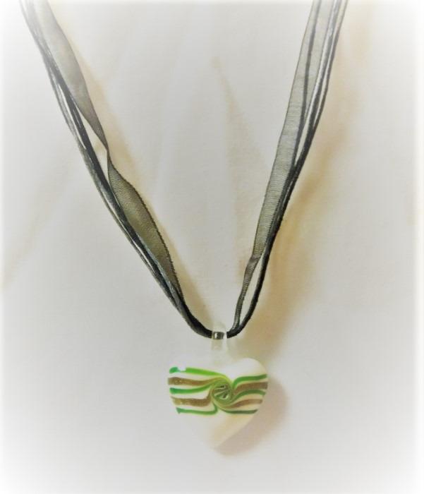 Lampwork Glas Gnistrande Hjärtat Halsband