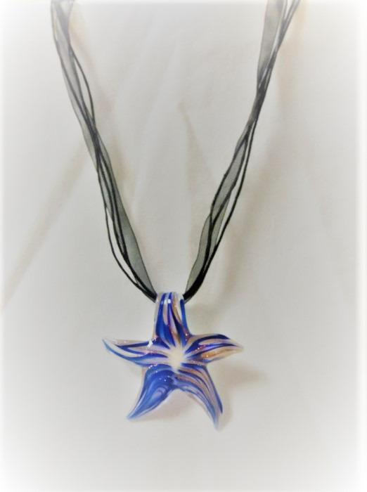 Lampwork Glas Blåa sjöstjärna Halsband