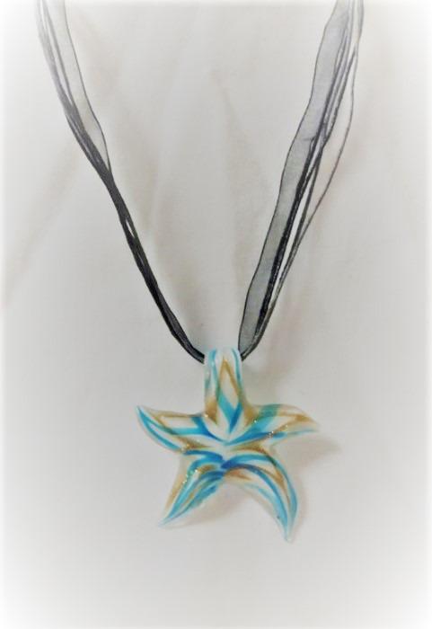 Lampwork Glas Ljusblåa Sjöstjärna Halsband