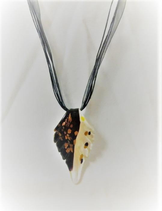 Lampwork Glas Svarta Fylld Halsband