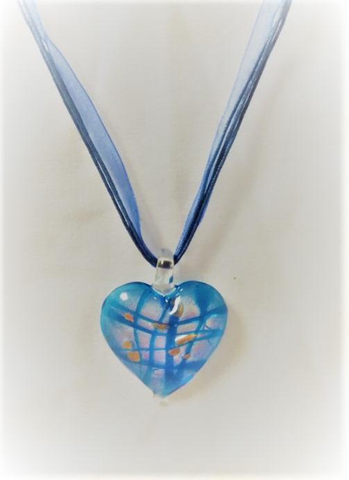 Lampwork Glas Andar i Hjärtat Blåa Halsband