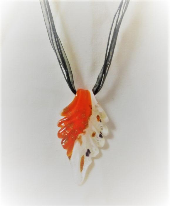 Lampwork Glas Höstlöv Orange Halsband