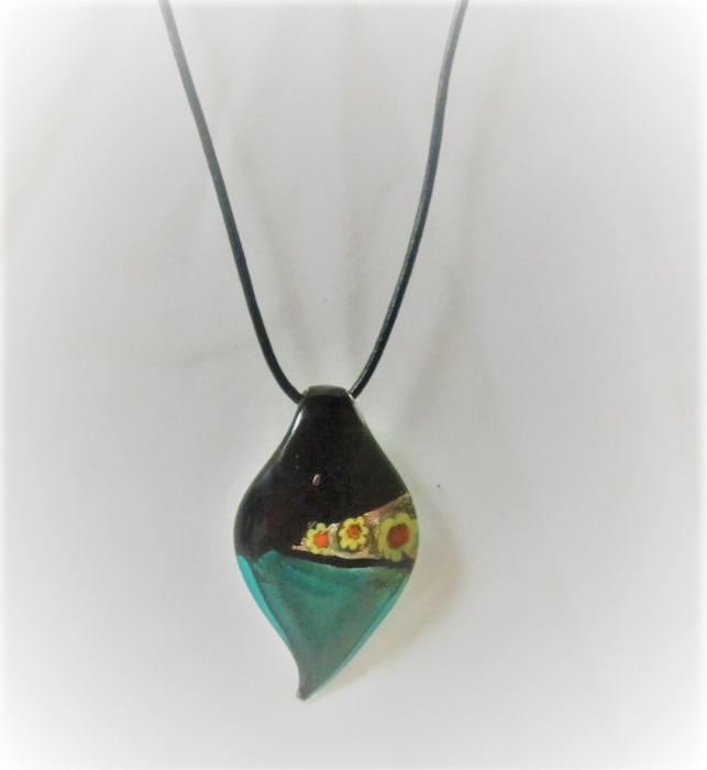 Lampwork Glas Flaska Solros Gröna Svarta Halsband