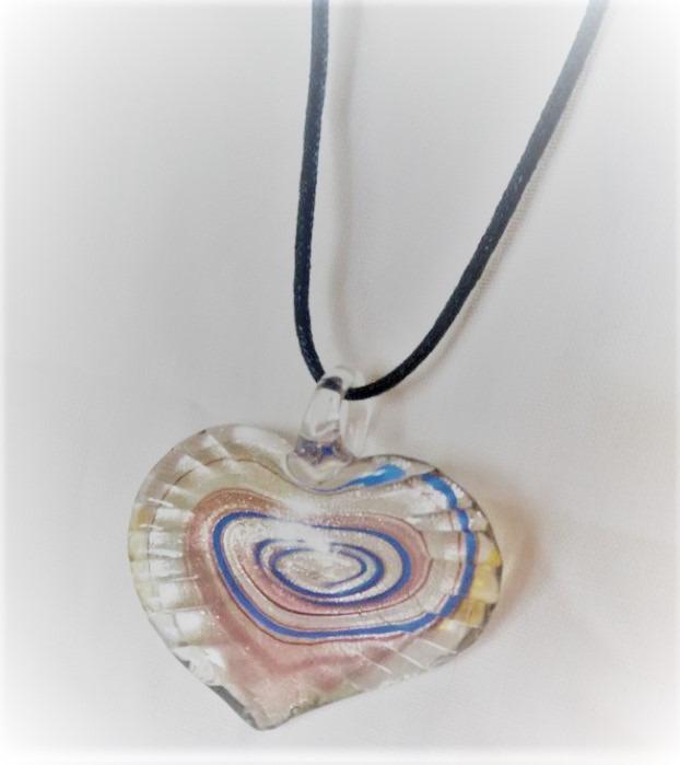 Lampwork Glas Hjärtat Blåa Halsband