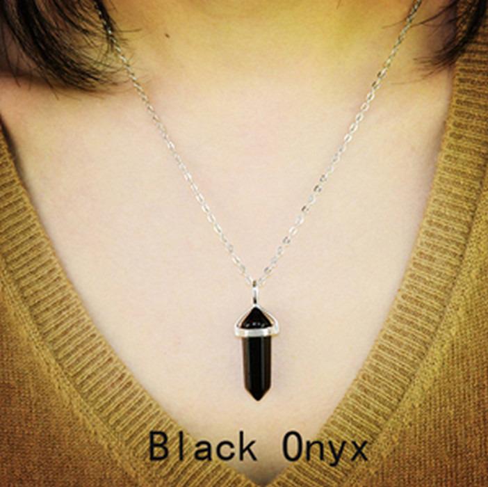 Naturlig Svarta Onyx Sten Halsband