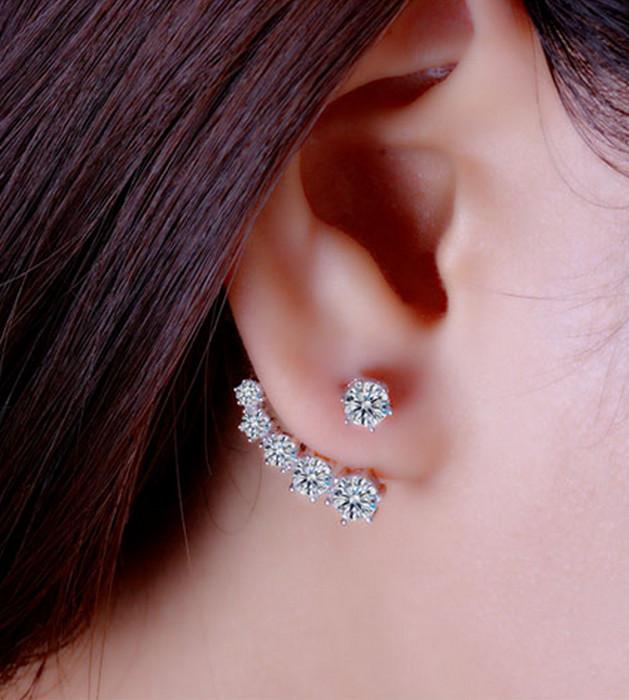 Cubic Zirconia Crystal Silver Örhänge