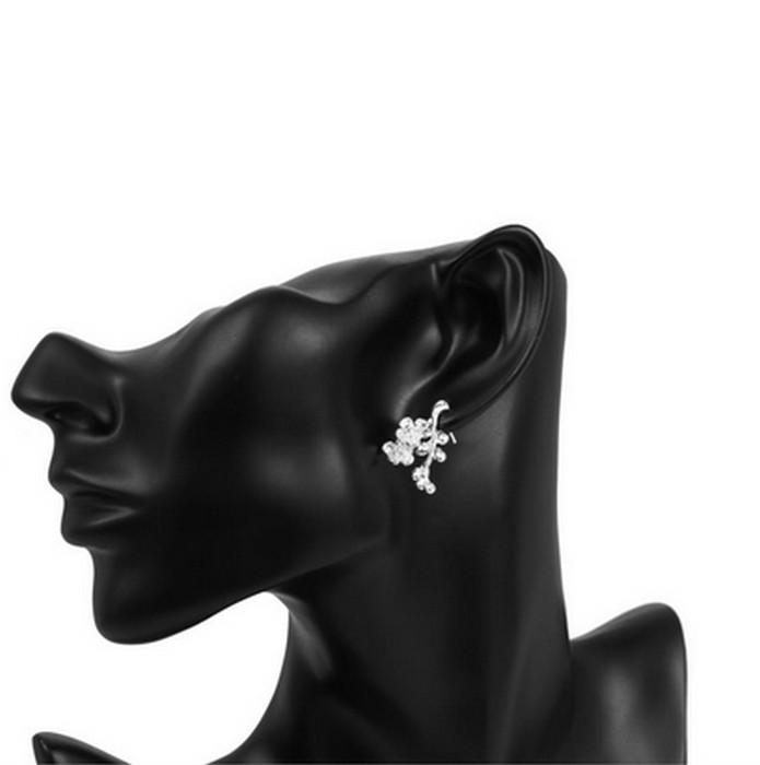 Plommon Blomma Silver Örhänge