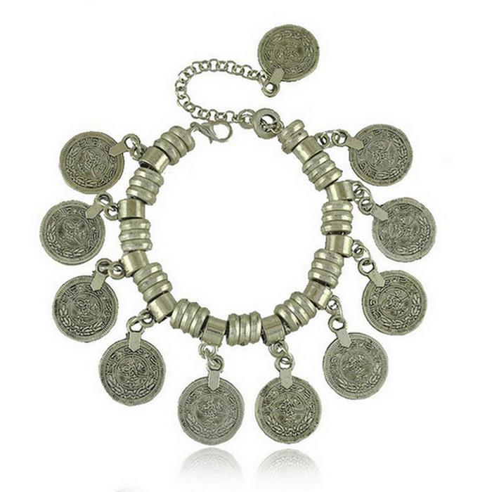 Tibetan Vintage Mynt Antik Silver Armband