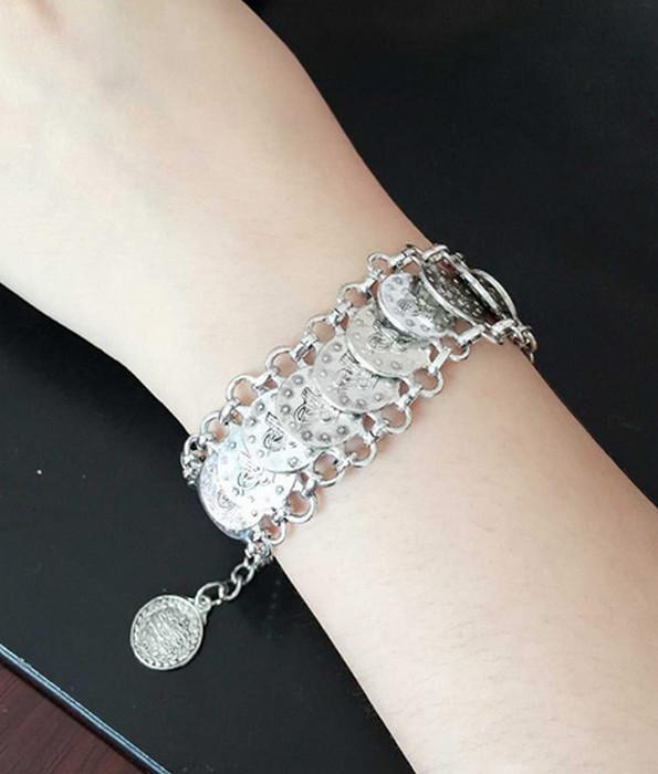 Bohemian Antique Silver Mynt Armband