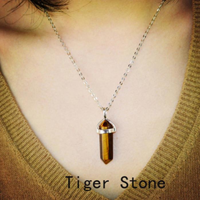 Naturlig Tiger Öga Kristall Sten Halsband