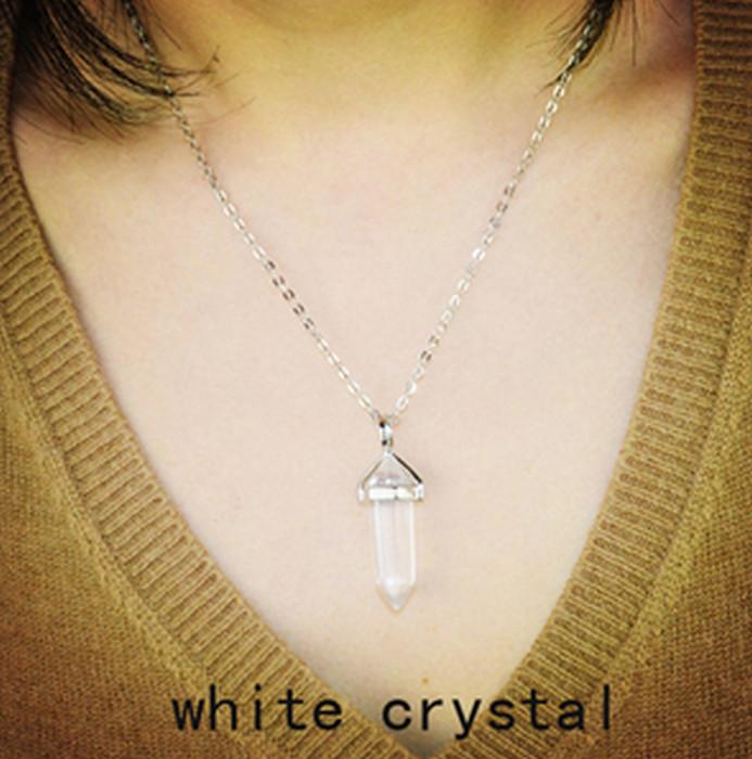 Naturlig Silver Vita Kristall Sten Halsband