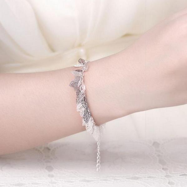 Silver Blad Urklipp Skönhet Armband