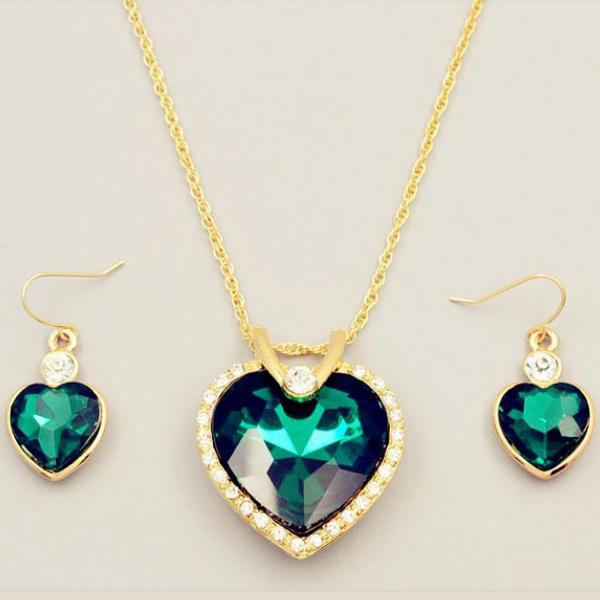 Hav Stjärna Gröna Guld Hjärtat Halsband Set