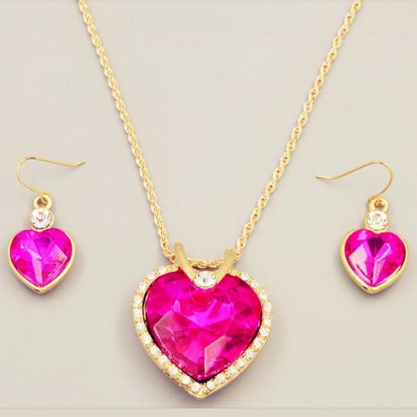 Hav Stjärna Rosa Guld Hjärtat Halsband Set