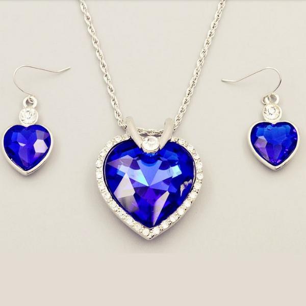Hav Stjärna Blåa Silver Hjärtat Halsband Set