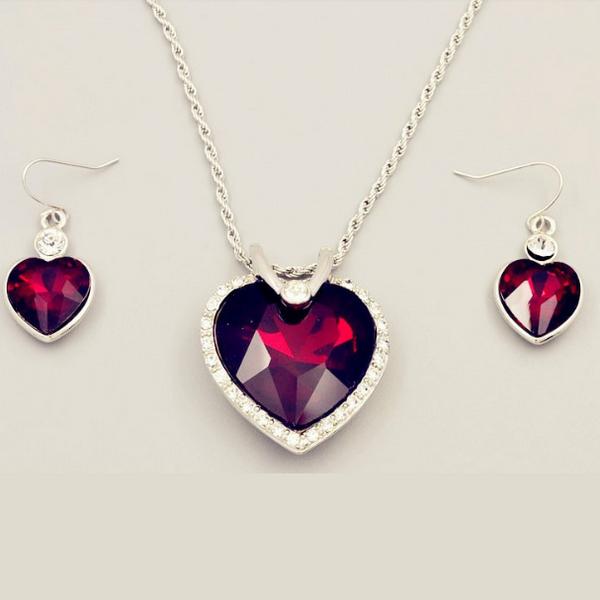 Hav Stjärna Röda Silver Hjärtat Halsband Set