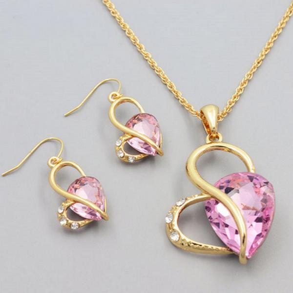 Ljus Rosa Kristaller Hjärtat Halsband Set