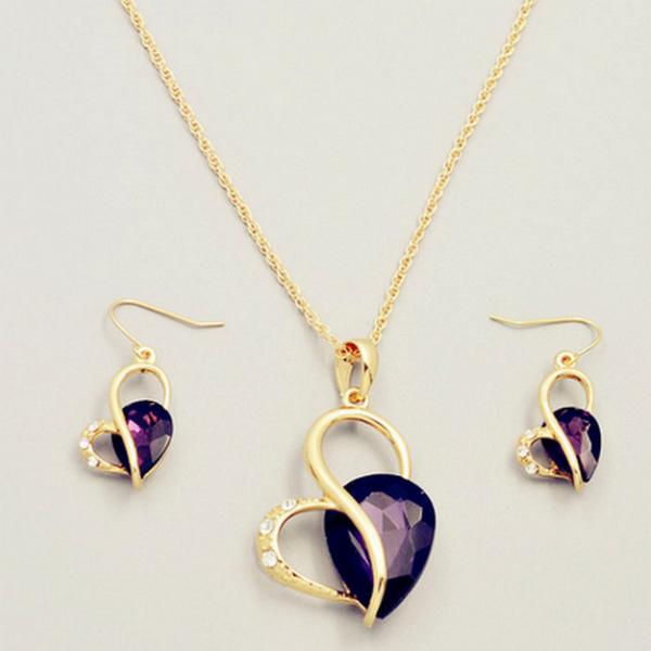 Lila Kristaller Hjärtat Halsband Set