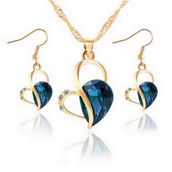 Blåa Kristaller Hjärtat Halsband Set